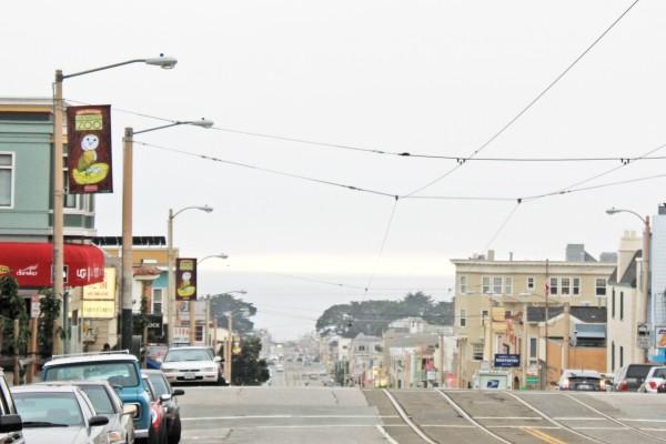 outer sunset, pacific ocean, taraval, street car tracks, san francisco california