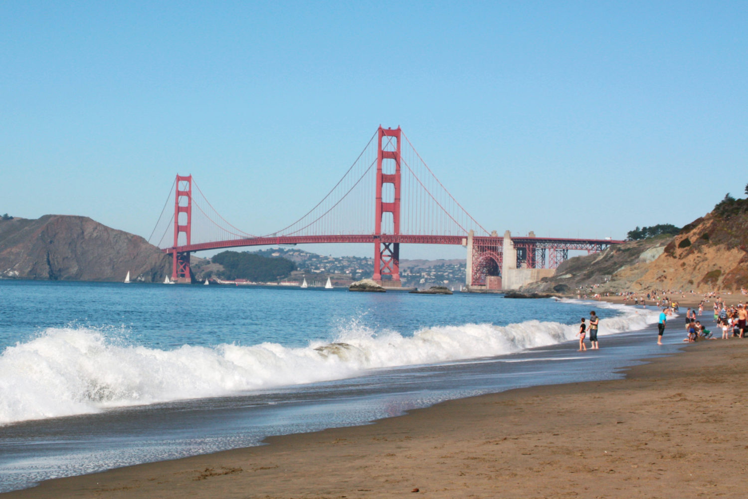 california, san francisco, baker beach, golden gate bridge, view, waves, coast