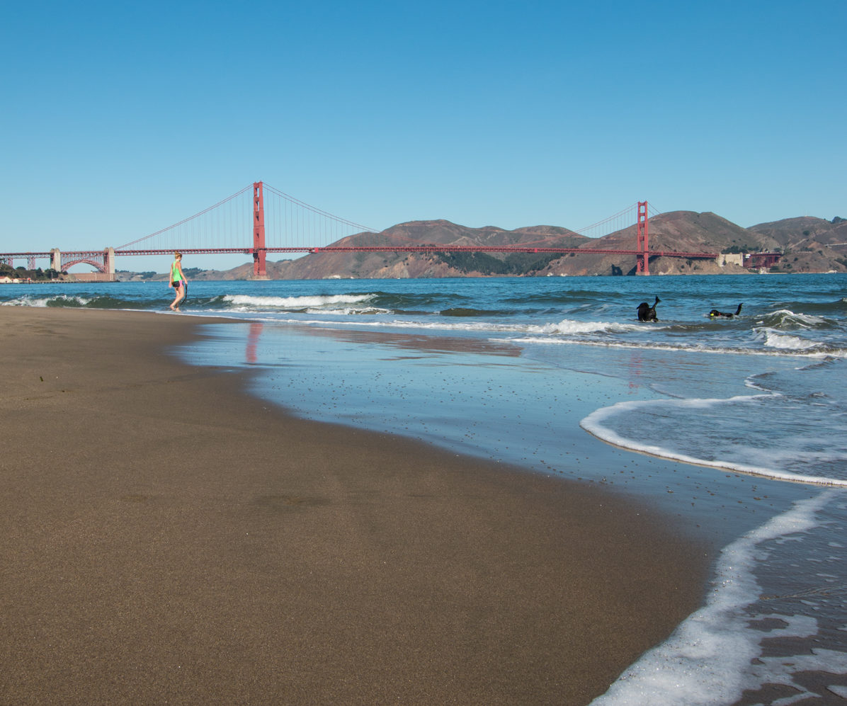 east beach at crissy field, marina district, golden gate bridge, san francisco, california